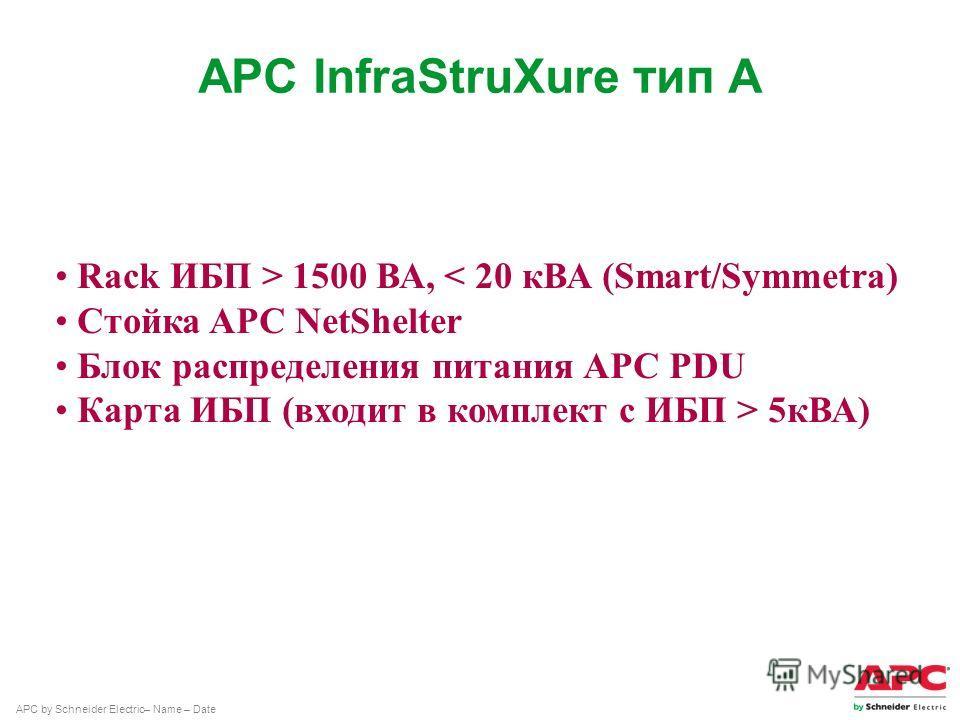 APC by Schneider Electric– Name – Date APC InfraStruXure тип А Rack ИБП > 1500 ВА, < 20 кВА (Smart/Symmetra) Стойка APC NetShelter Блок распределения питания APC PDU Карта ИБП (входит в комплект с ИБП > 5 кВА)