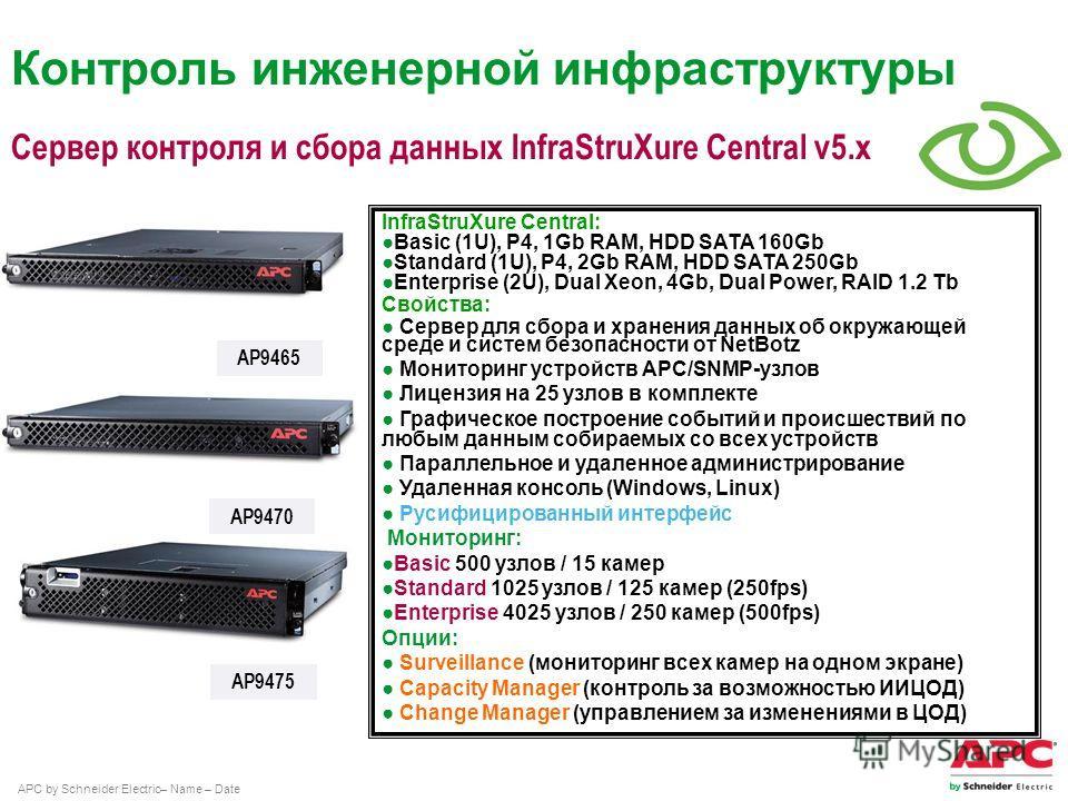 APC by Schneider Electric– Name – Date Сервер контроля и сбора данных InfraStruXure Central v5. x AP9470 AP9475 InfraStruXure Central: Basic (1U), P4, 1Gb RAM, HDD SATA 160Gb Standard (1U), P4, 2Gb RAM, HDD SATA 250Gb Enterprise (2U), Dual Xeon, 4Gb,
