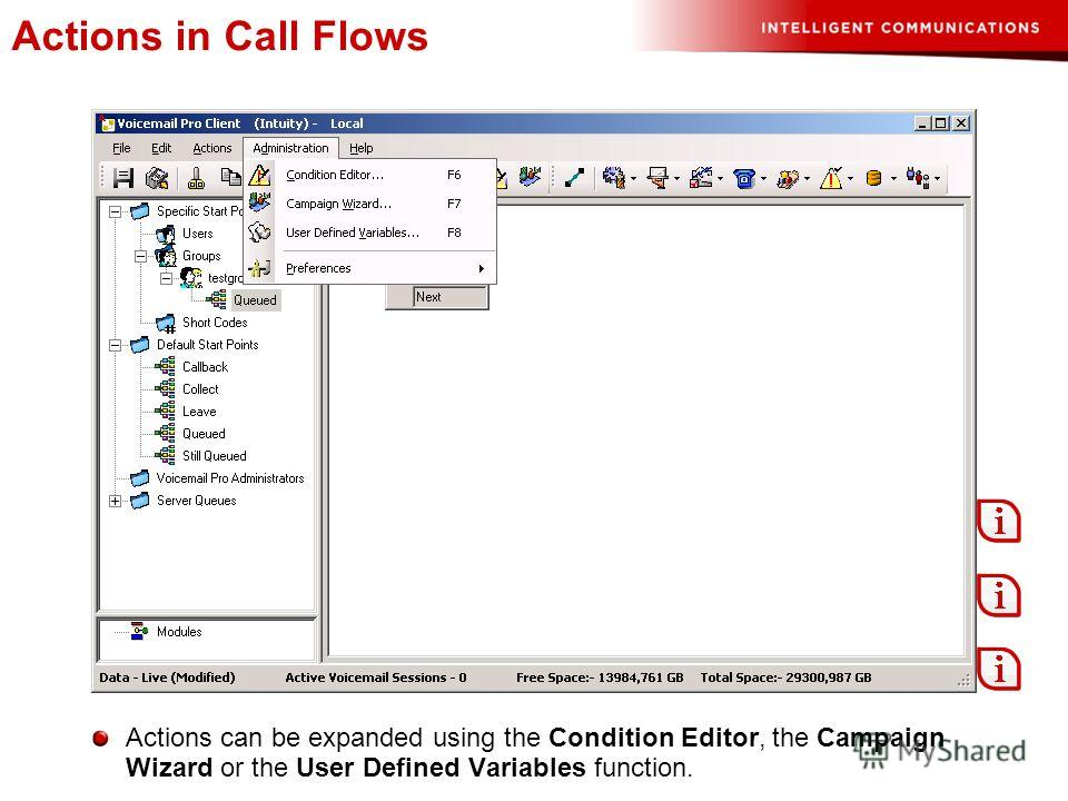Actions in Call Flows Actions can be expanded using the Condition Editor, the Campaign Wizard or the User Defined Variables function.
