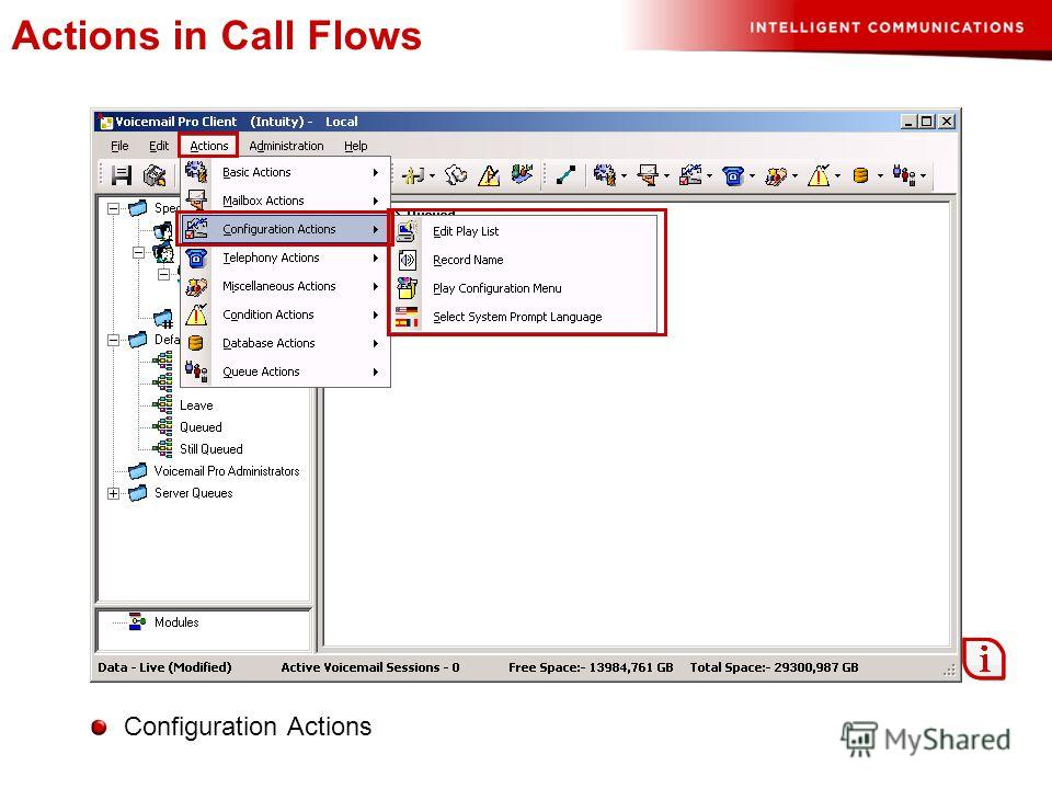 Actions in Call Flows Configuration Actions
