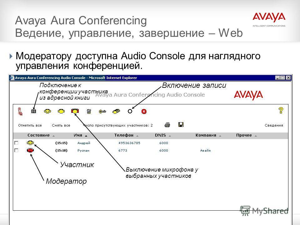 © 2011 Avaya Inc. All rights reserved.7 Avaya Aura Conferencing Ведение, управление, завершение – Web Модератору доступна Audio Console для наглядного управления конференцией. Модератор Участник Включение записи Подключение к конференции участника из