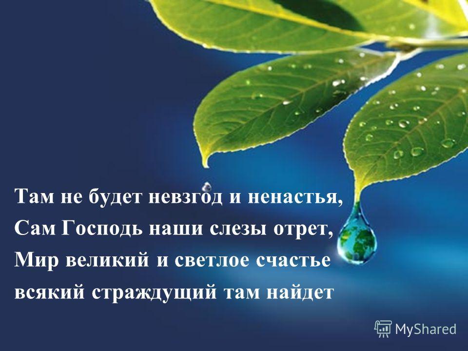 Там не будет невзгод и ненастья, Сам Господь наши слезы отрет, Мир великий и светлое счастье всякий страждущий там найдет