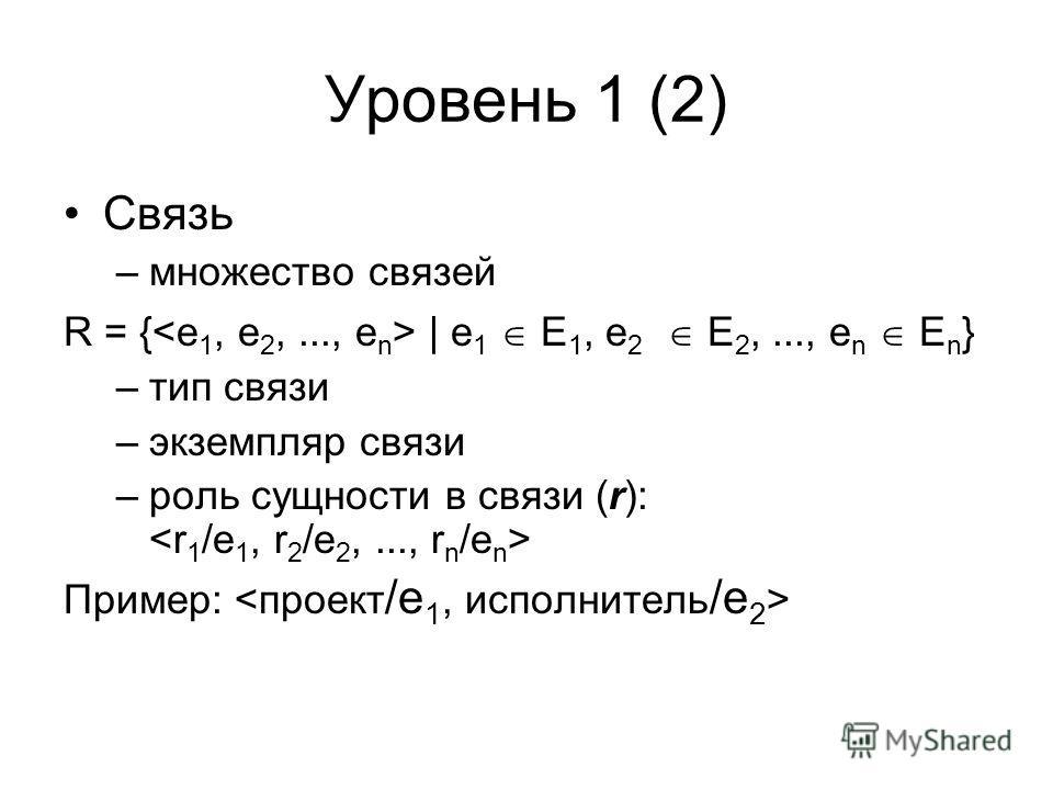 Уровень 1 (2) Связь –множество связей R = { | e 1 E 1, e 2 E 2,..., e n E n } –тип связи –экземпляр связи –роль сущности в связи (r): Пример: