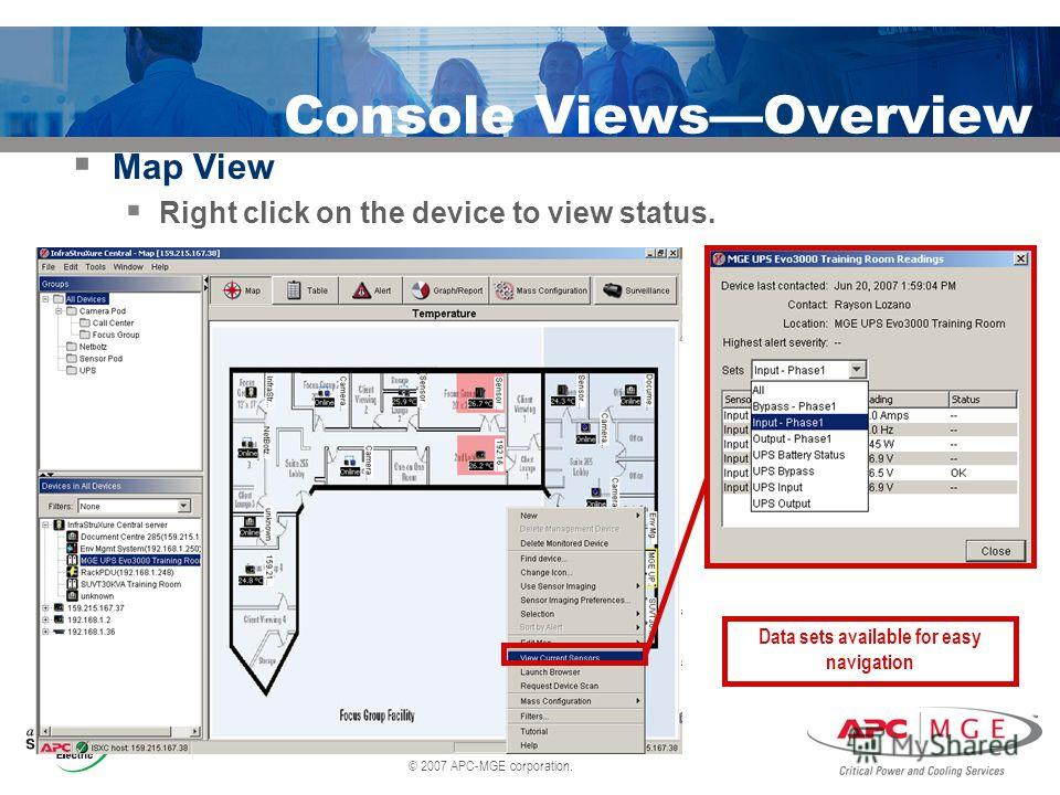 © 2007 APC-MGE corporation. Console ViewsOverview Map View Right click on the device to view status. Data sets available for easy navigation