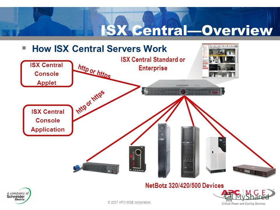 © 2007 APC-MGE corporation. ISX CentralOverview How ISX Central Servers Work ISX Central Console Applet ISX Central Console Application http or https ISX Central Standard or Enterprise NetBotz 320/420/500 Devices