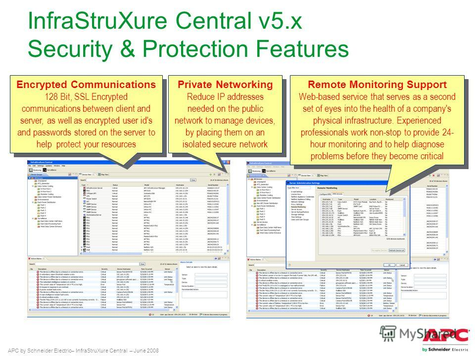 APC by Schneider Electric– InfraStruXure Central – June 2008 InfraStruXure Central v5. x Security & Protection Features Private Networking Reduce IP addresses needed on the public network to manage devices, by placing them on an isolated secure netwo