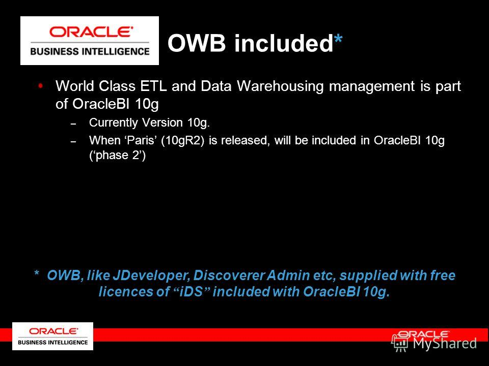 World Class ETL and Data Warehousing management is part of OracleBI 10g – Currently Version 10g. – When Paris (10gR2) is released, will be included in OracleBI 10g (phase 2) OWB included* * OWB, like JDeveloper, Discoverer Admin etc, supplied with fr