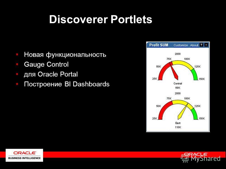 Новая функциональность Gauge Control для Oracle Portal Построение BI Dashboards Discoverer Portlets