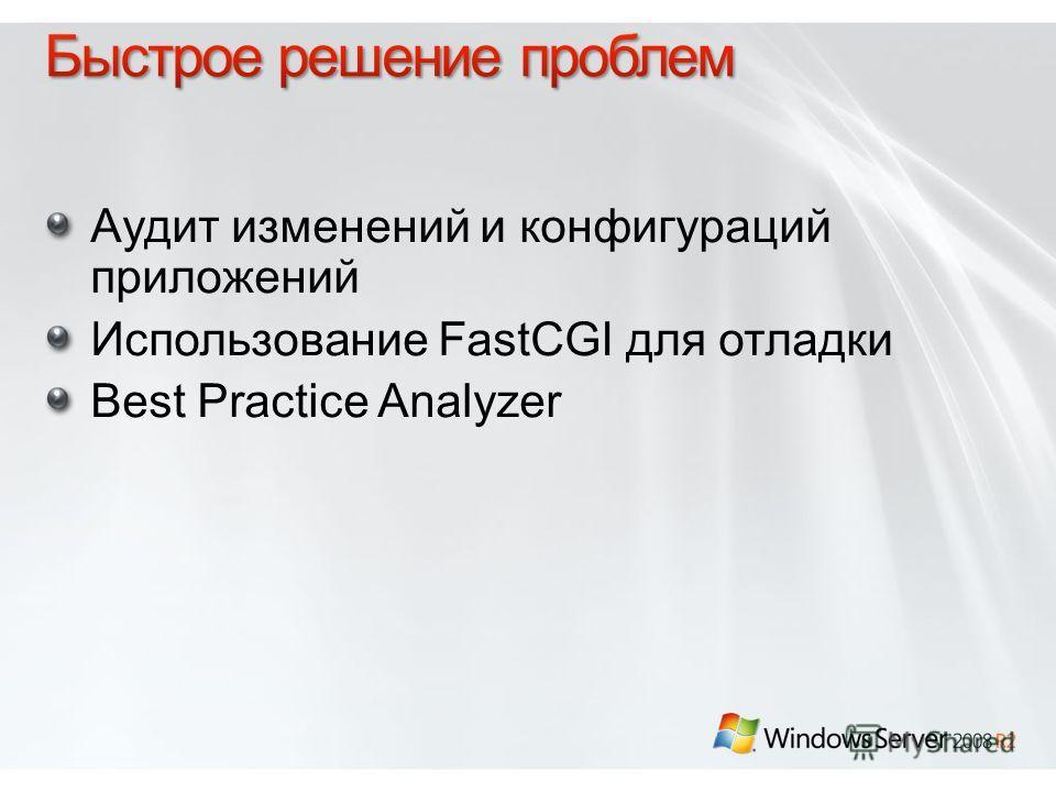 Аудит изменений и конфигураций приложений Использование FastCGI для отладки Best Practice Analyzer