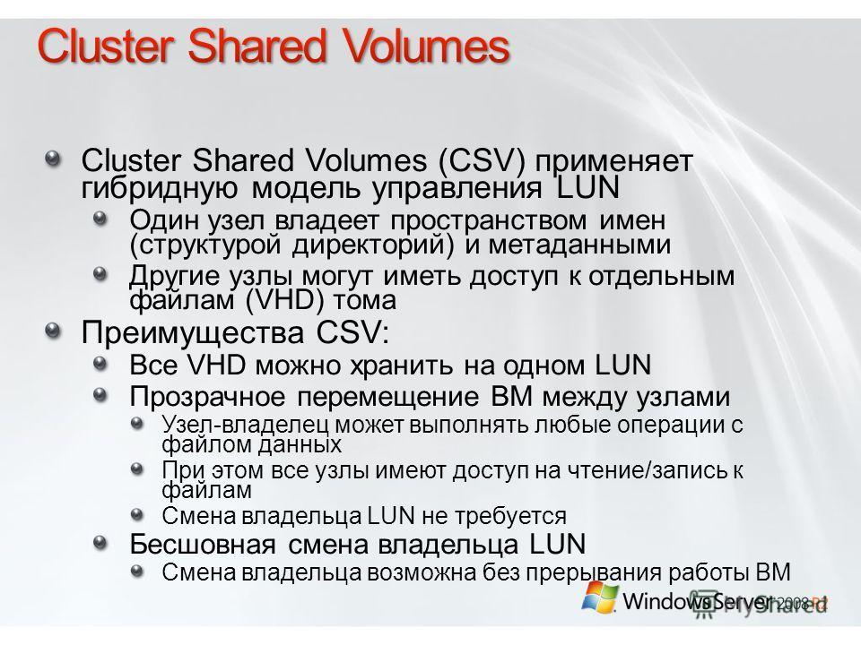 Cluster Shared Volumes (CSV) применяет гибридную модель управления LUN Один узел владеет пространством имен (структурой директорий) и метаданными Другие узлы могут иметь доступ к отдельным файлам (VHD) тома Преимущества CSV: Все VHD можно хранить на