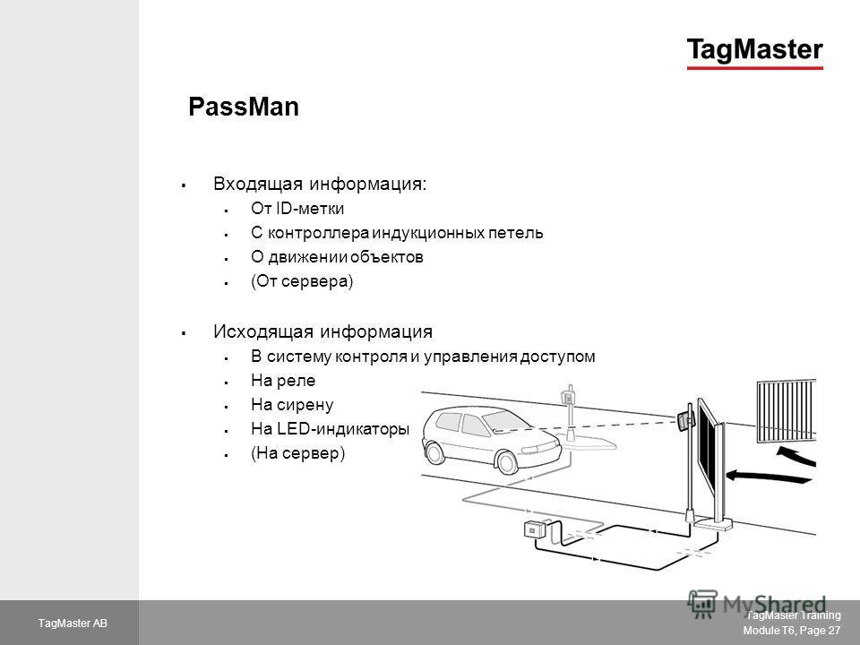 TagMaster Training Module T6, Page 27 TagMaster AB PassMan Входящая информация: От ID-метки С контроллера индукционных петель О движении объектов (От сервера) Исходящая информация В систему контроля и управления доступом На реле На сирену На LED-инди
