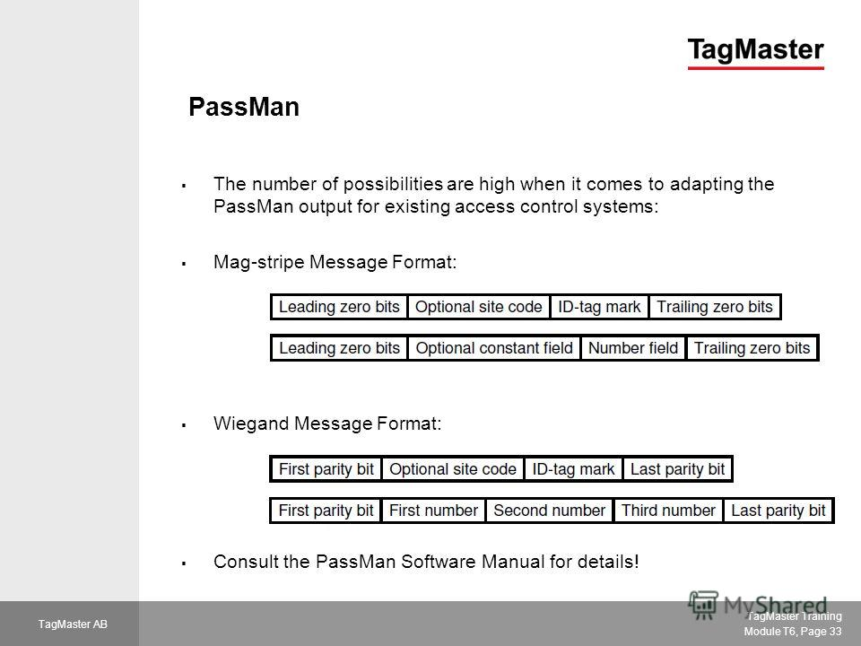 TagMaster Training Module T6, Page 33 TagMaster AB PassMan The number of possibilities are high when it comes to adapting the PassMan output for existing access control systems: Mag-stripe Message Format: Wiegand Message Format: Consult the PassMan S