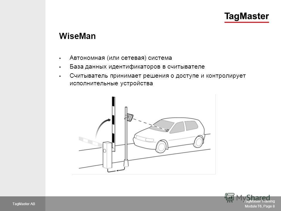 TagMaster Training Module T6, Page 8 TagMaster AB WiseMan Автономная (или сетевая) система База данных идентификаторов в считывателе Считыватель принимает решения о доступе и контролирует исполнительные устройства