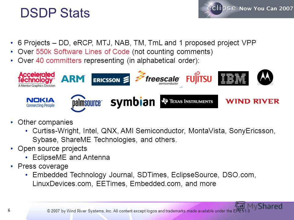 © 2007 by Wind River Systems, Inc. All content except logos and trademarks made available under the EPL v1.0 DSDP Stats 6 6 Projects – DD, eRCP, MTJ, NAB, TM, TmL and 1 proposed project VPP Over 550k Software Lines of Code (not counting comments) Ove