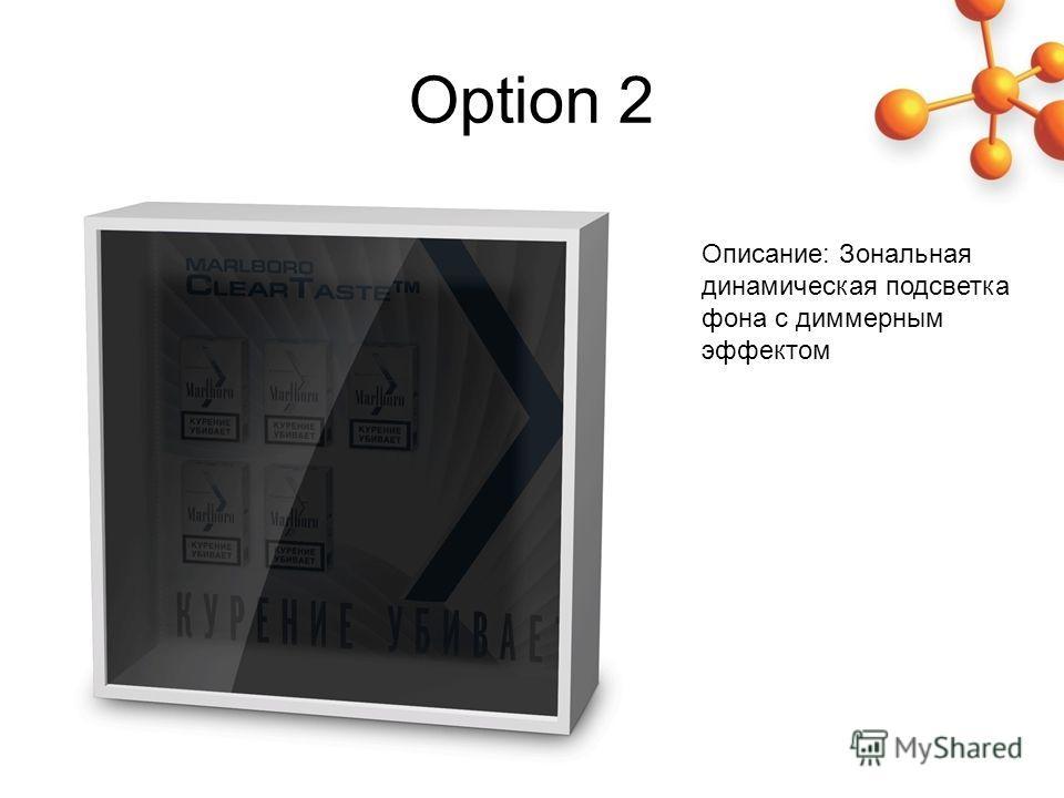 Option 2 Описание: Зональная динамическая подсветка фона с димерным эффектом