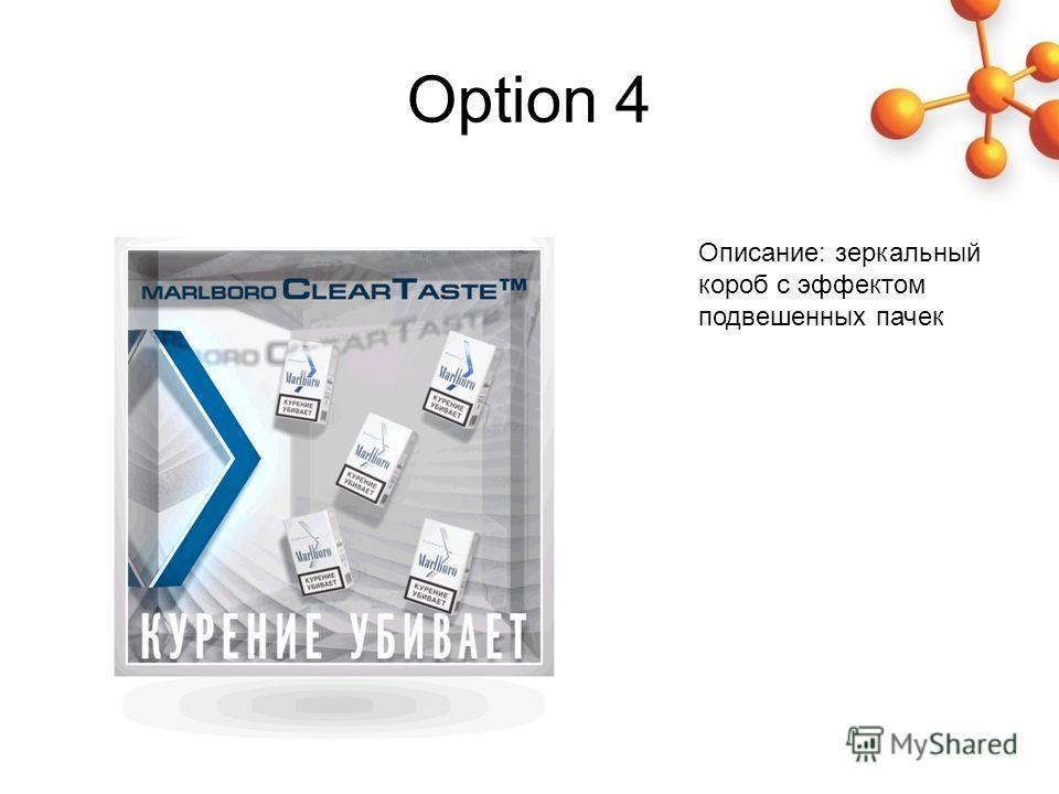 Option 4 Описание: зеркальный короб с эффектом подвешенных пачек