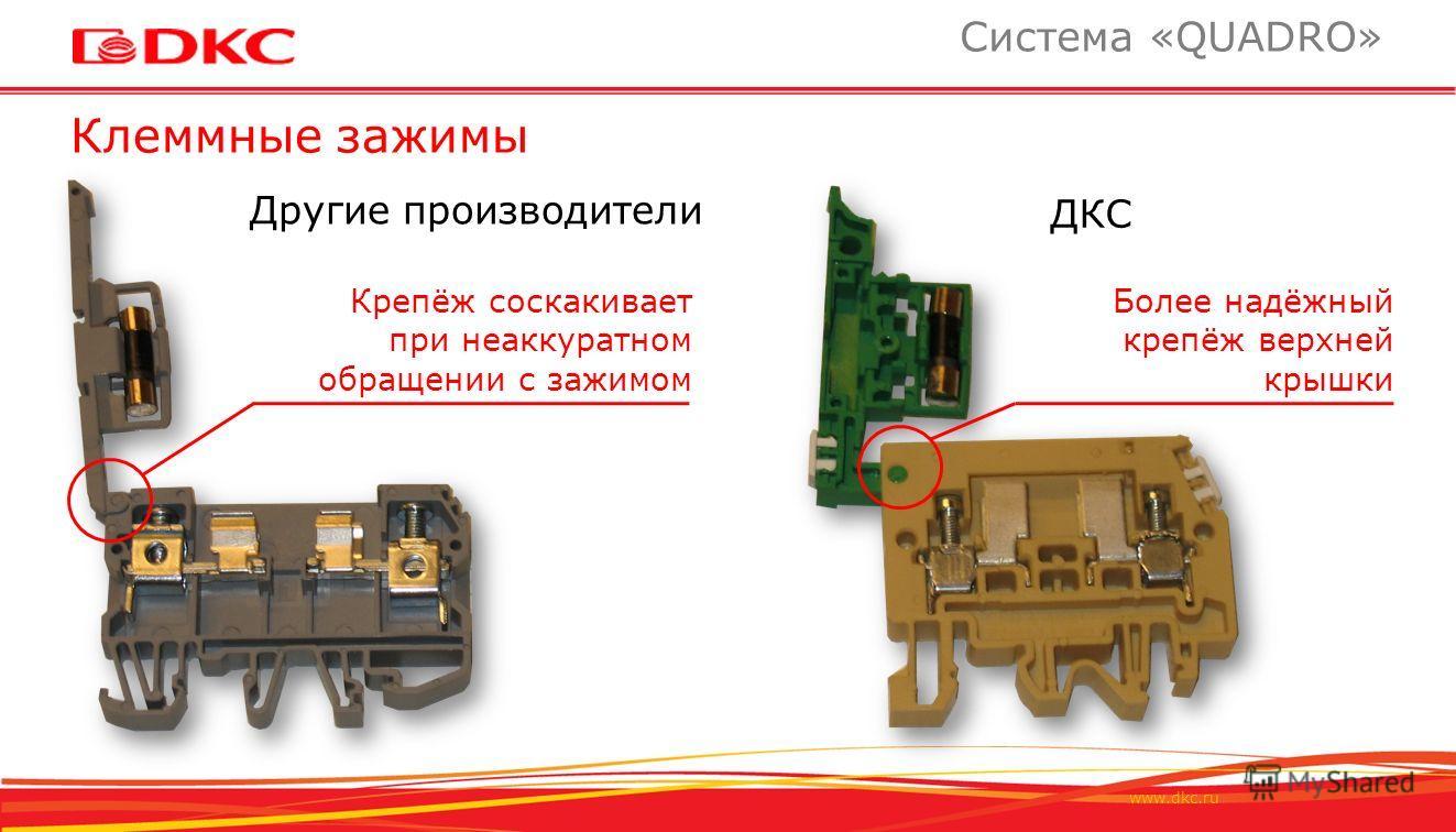 www.dkc.ru Клеммные зажимы Система «QUADRO» ДКС Другие производители Более надёжный крепёж верхней крышки Крепёж соскакивает при неаккуратном обращении с зажимом