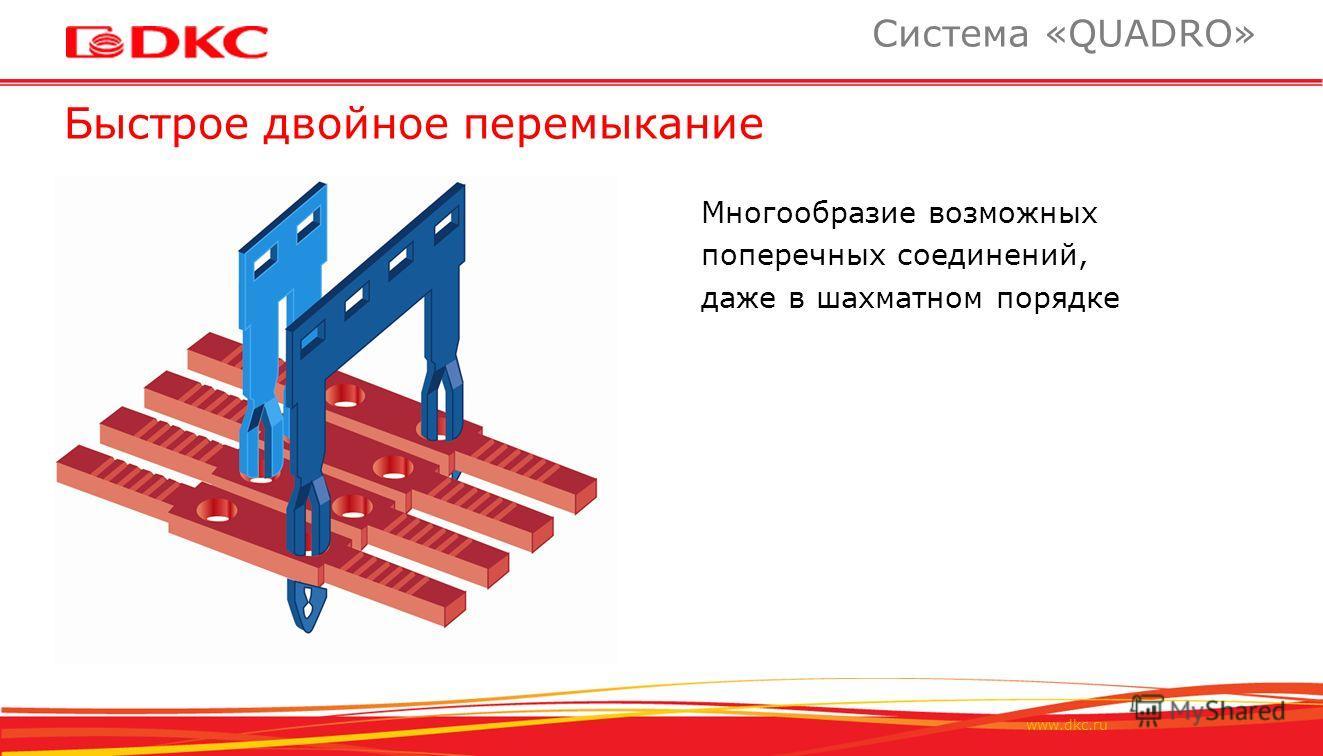 www.dkc.ru Быстрое двойное перемыкание Система «QUADRO» Многообразие возможных поперечных соединений, даже в шахматном порядке