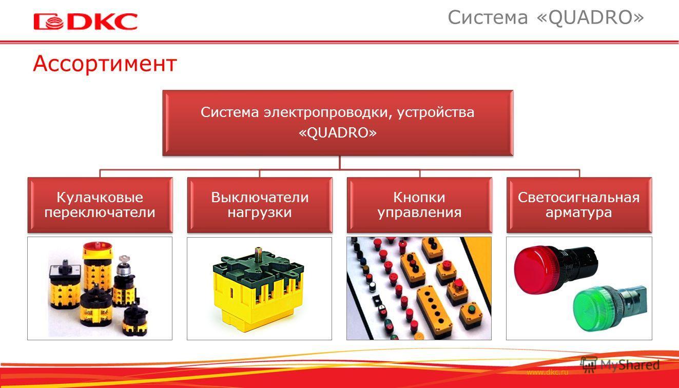 www.dkc.ru Кулачковые переключатели Выключатели нагрузки Кнопки управления Светосигнальная арматура Ассортимент Система «QUADRO» Система электропроводки, устройства «QUADRO»