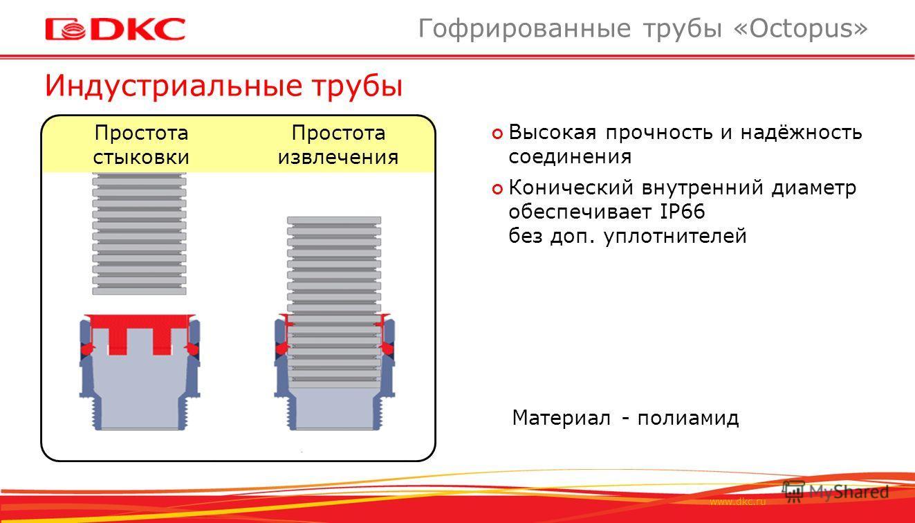 www.dkc.ru Индустриальные трубы Гофрированные трубы «Octopus» Простота стыковки Простота извлечения Высокая прочность и надёжность соединения Конический внутренний диаметр обеспечивает IP66 без доп. уплотнителей Материал - полиамид
