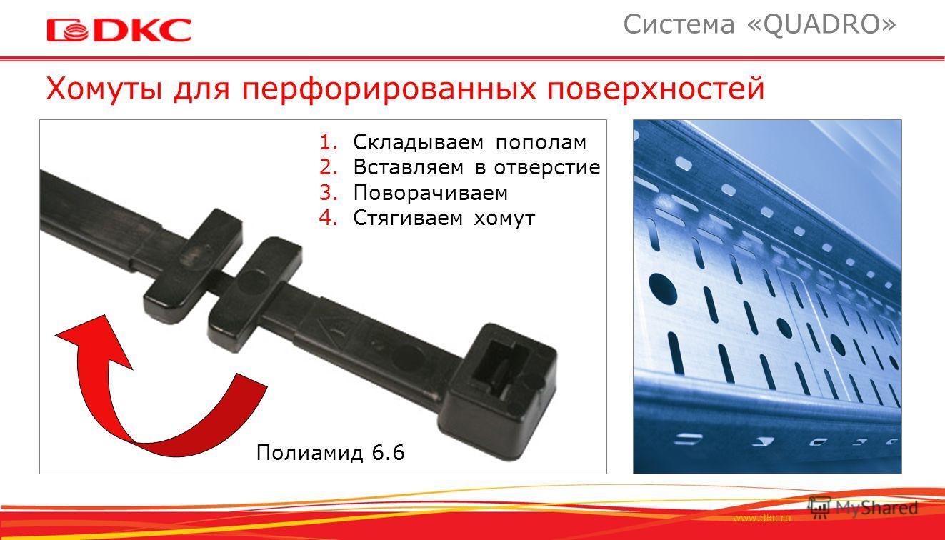 www.dkc.ru Хомуты для перфорированных поверхностей Система «QUADRO» Полиамид 6.6 1. Складываем пополам 2. Вставляем в отверстие 3. Поворачиваем 4. Стягиваем хомут