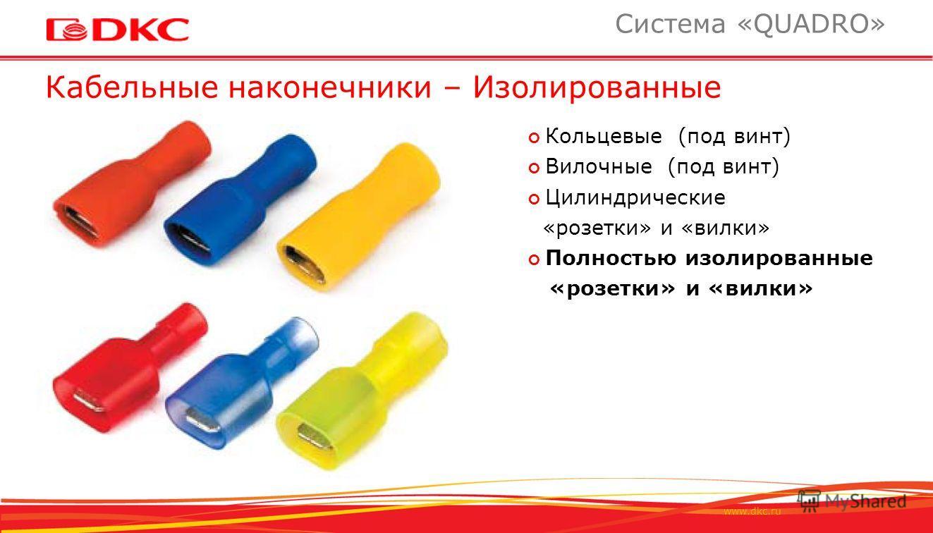 www.dkc.ru Кабельные наконечники – Изолированные Система «QUADRO» Кольцевые (под винт) Вилочные (под винт) Цилиндрические «розетки» и «вилки» Полностью изолированные «розетки» и «вилки»
