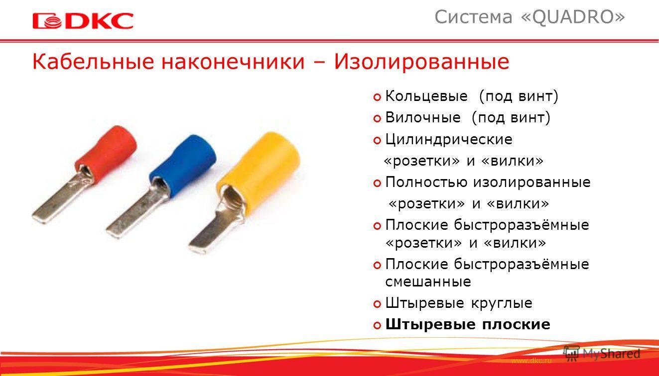 www.dkc.ru Кабельные наконечники – Изолированные Система «QUADRO» Кольцевые (под винт) Вилочные (под винт) Цилиндрические «розетки» и «вилки» Полностью изолированные «розетки» и «вилки» Плоские быстроразъёмные «розетки» и «вилки» Плоские быстроразъём