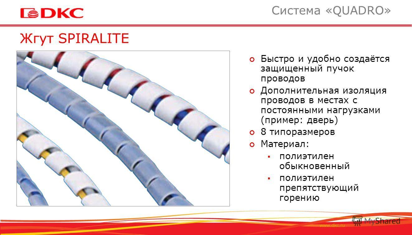 www.dkc.ru Жгут SPIRALITE Система «QUADRO» Быстро и удобно создаётся защищенный пучок проводов Дополнительная изоляция проводов в местах с постоянными нагрузками (пример: дверь) 8 типоразмеров Материал: полиэтилен обыкновенный полиэтилен препятствующ