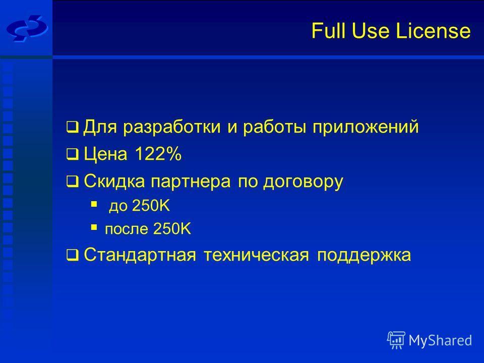 Full Use License Для разработки и работы приложений Цена 122% Скидка партнера по договору до 250K после 250K Стандартная техническая поддержка