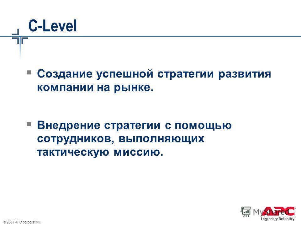 © 2003 APC corporation. C-Level Создание успешной стратегии развития компании на рынке. Внедрение стратегии с помощью сотрудников, выполняющих тактическую миссию.