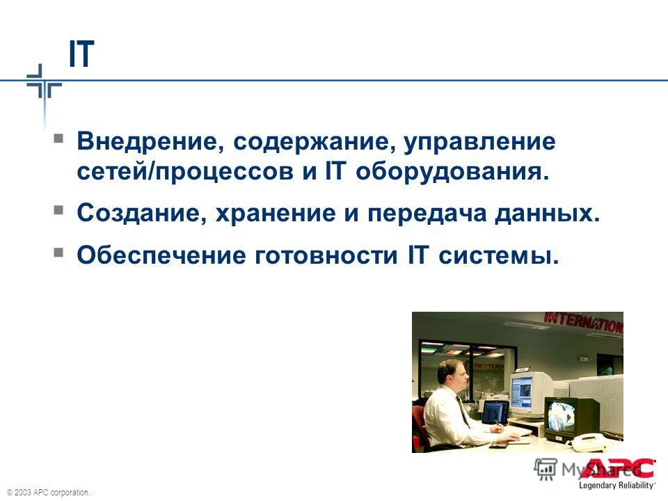 © 2003 APC corporation. IT Внедрение, содержание, управление сетей/процессов и IT оборудования. Создание, хранение и передача данных. Обеспечение готовности IT системы.