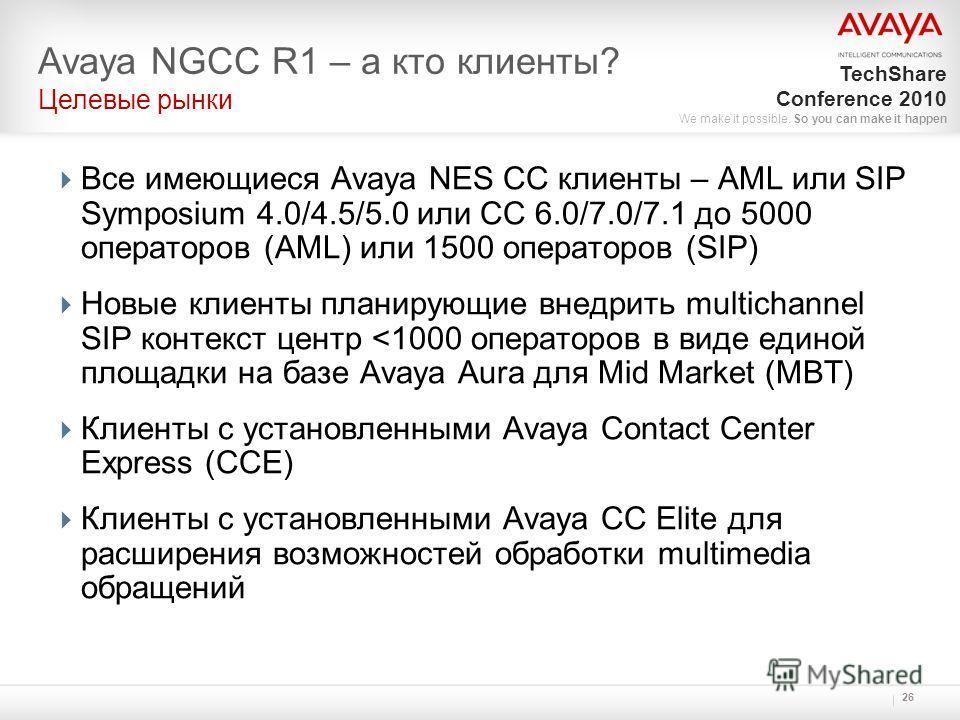 TechShare Conference 2010 We make it possible. So you can make it happen 26 Все имеющиеся Avaya NES CC клиенты – AML или SIP Symposium 4.0/4.5/5.0 или CC 6.0/7.0/7.1 до 5000 операторов (AML) или 1500 операторов (SIP) Новые клиенты планирующие внедрит