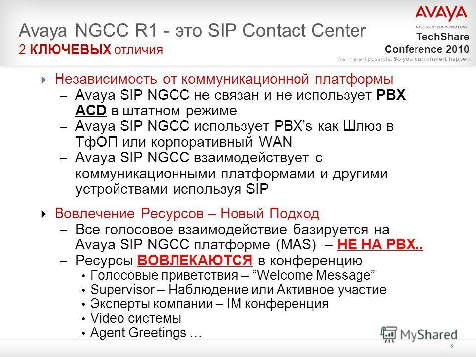 TechShare Conference 2010 We make it possible. So you can make it happen 8 Независимость от коммуникационной платформы – Avaya SIP NGCC не связан и не использует PBX ACD в штатном режиме – Avaya SIP NGCC использует PBXs как Шлюз в ТфОП или корпоратив