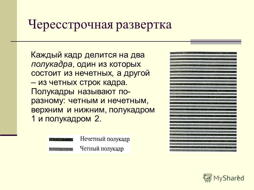 5 Чересстрочная развертка Каждый кадр делится на два полукадра, один из которых состоит из нечетных, а другой – из четных строк кадра. Полукадры называют по- разному: четным и нечетным, верхним и нижним, полукадром 1 и полукадром 2.