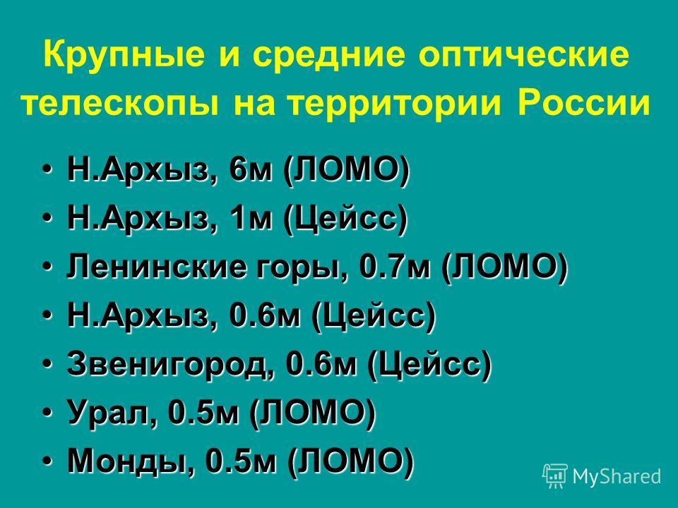 Крупные и средние оптические телескопы на территории России Н.Архыз, 6 м (ЛОМО)Н.Архыз, 6 м (ЛОМО) Н.Архыз, 1 м (Цейсс)Н.Архыз, 1 м (Цейсс) Ленинские горы, 0.7 м (ЛОМО)Ленинские горы, 0.7 м (ЛОМО) Н.Архыз, 0.6 м (Цейсс)Н.Архыз, 0.6 м (Цейсс) Звенигор