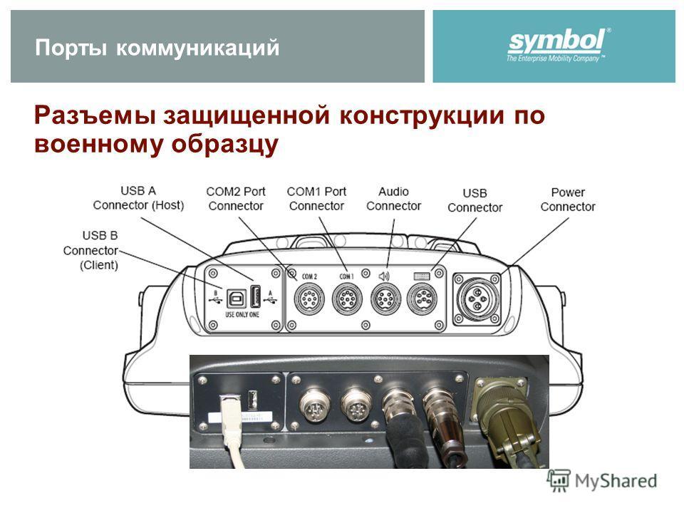 Порты коммуникаций Разъемы защищенной конструкции по военному образцу