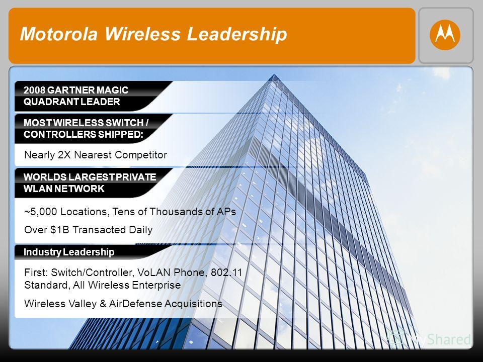 Motorola Wireless Leadership MOST WIRELESS SWITCH / CONTROLLERS SHIPPED: Nearly 2X Nearest Competitor WORLDS LARGEST PRIVATE WLAN NETWORK ~5,000 Locations, Tens of Thousands of APs Over $1B Transacted Daily 2008 GARTNER MAGIC QUADRANT LEADER First: S