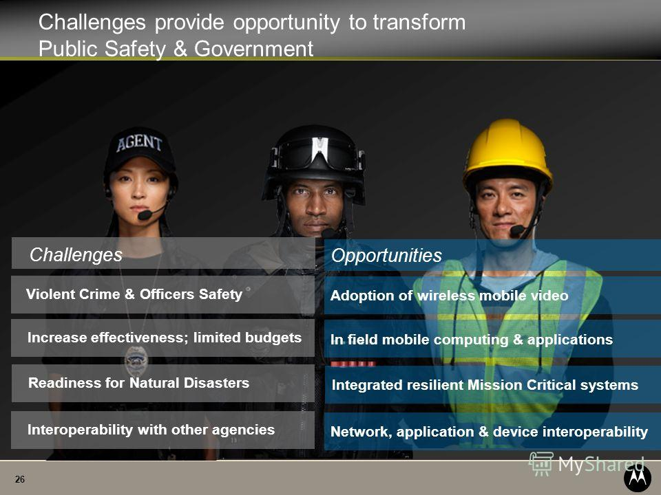 26 Challenges provide opportunity to transform Public Safety & Government Violent Crime & Officers Safety Challenges Interoperability with other agenciesIncrease effectiveness; limited budgetsReadiness for Natural Disasters Adoption of wireless mobil