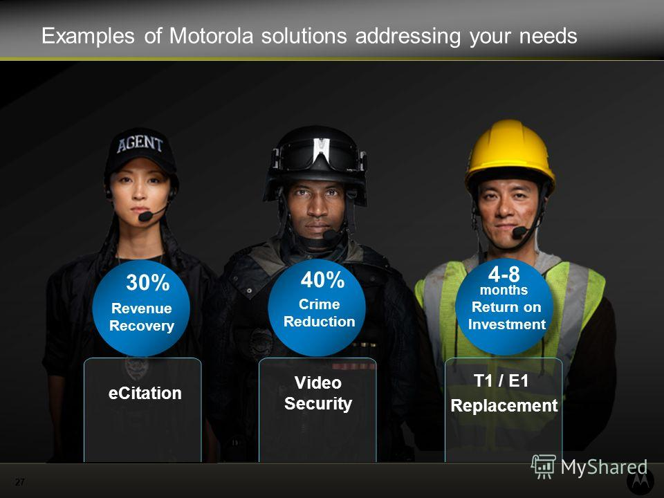 27 Examples of Motorola solutions addressing your needs eCitation Video Security T1 / E1 Replacement 40% Crime Reduction 4-8 months Return on Investment 30% Revenue Recovery