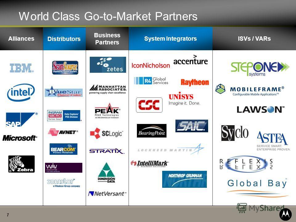 7 World Class Go-to-Market Partners Distributors Business Partners ISVs / VARsSystem Integrators Alliances