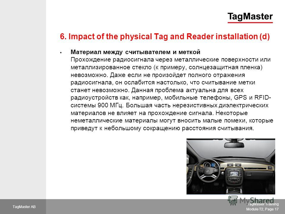 TagMaster Training Module T2, Page 17 TagMaster AB 6. Impact of the physical Tag and Reader installation (d) Материал между считывателем и меткой Прохождение радиосигнала через металлические поверхности или металлизированное стекло (к примеру, солнце
