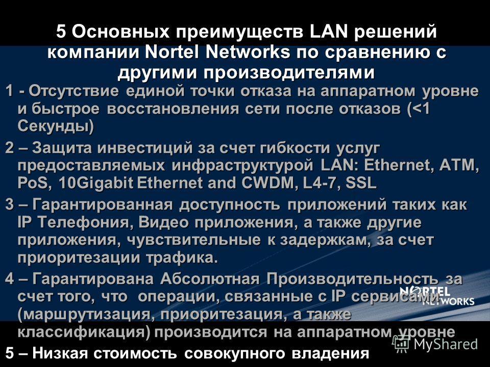 5 Основных преимуществ LAN решений компании Nortel Networks по сравнению с другими производителями 1 - Отсутствие единой точки отказа на аппаратном уровне и быстрое восстановления сети после отказов (