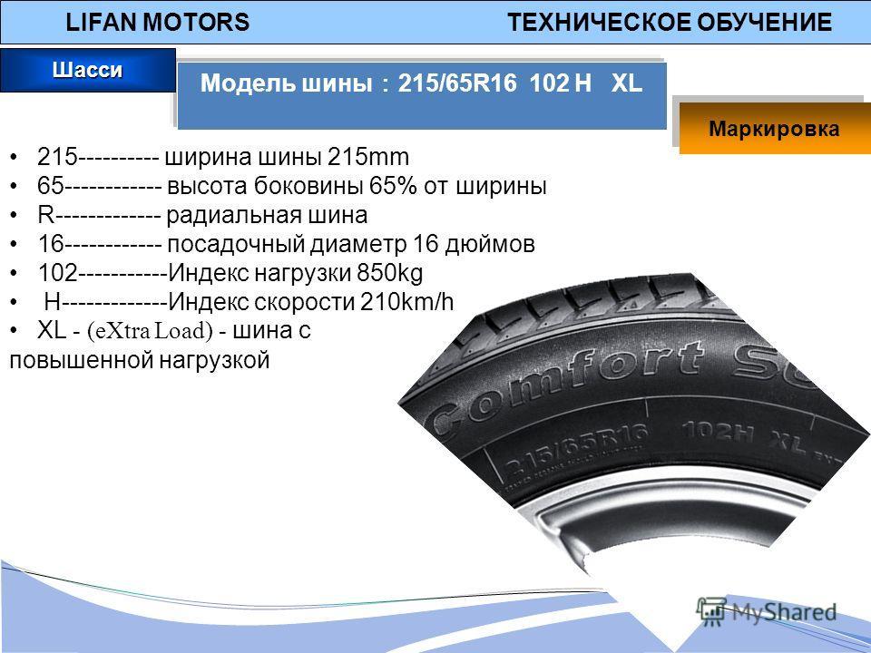 LIFAN MOTORS ТЕХНИЧЕСКОЕ ОБУЧЕНИЕ Модель шины 215/65R16 102 H XL 215---------- ширина шины 215mm 65------------ высота боковины 65% от ширины R------------- радиальная шина 16------------ посадочный диаметр 16 дюймов 102-----------Индекс нагрузки 850