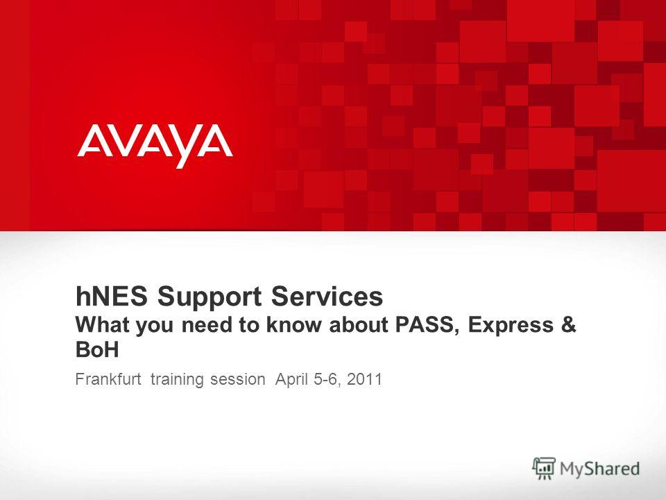 hNES Support Services What you need to know about PASS, Express & BoH Frankfurt training session April 5-6, 2011