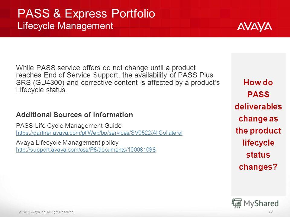 © 2010 Avaya Inc. All rights reserved. PASS & Express Portfolio Lifecycle Management While PASS service offers do not change until a product reaches End of Service Support, the availability of PASS Plus SRS (GU4300) and corrective content is affected
