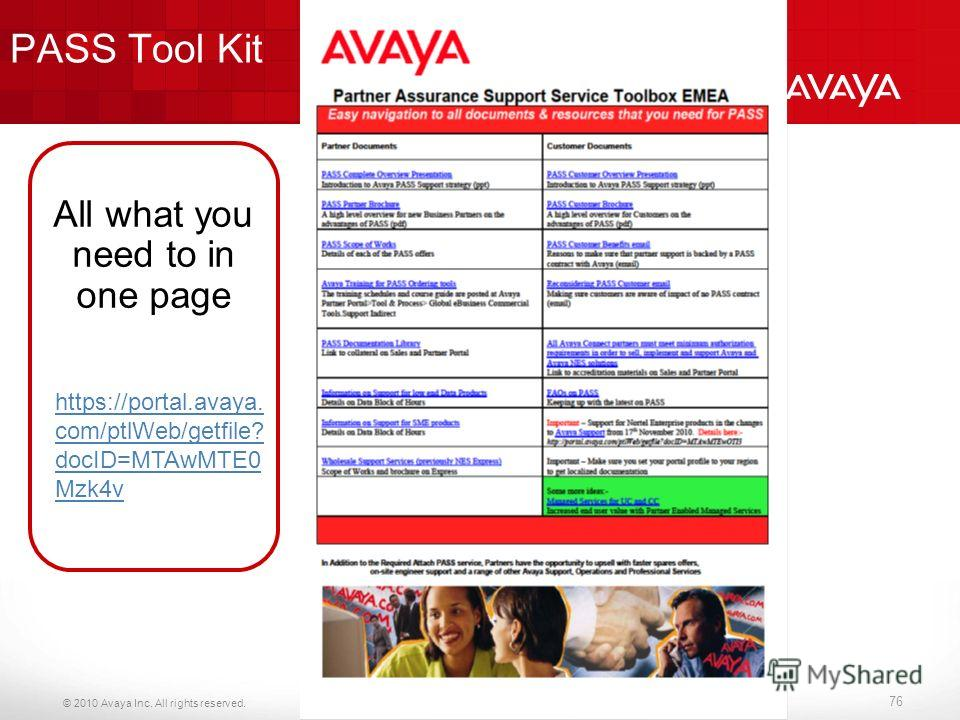 © 2010 Avaya Inc. All rights reserved. PASS Tool Kit 76 https://portal.avaya. com/ptlWeb/getfile? docID=MTAwMTE0 Mzk4v All what you need to in one page