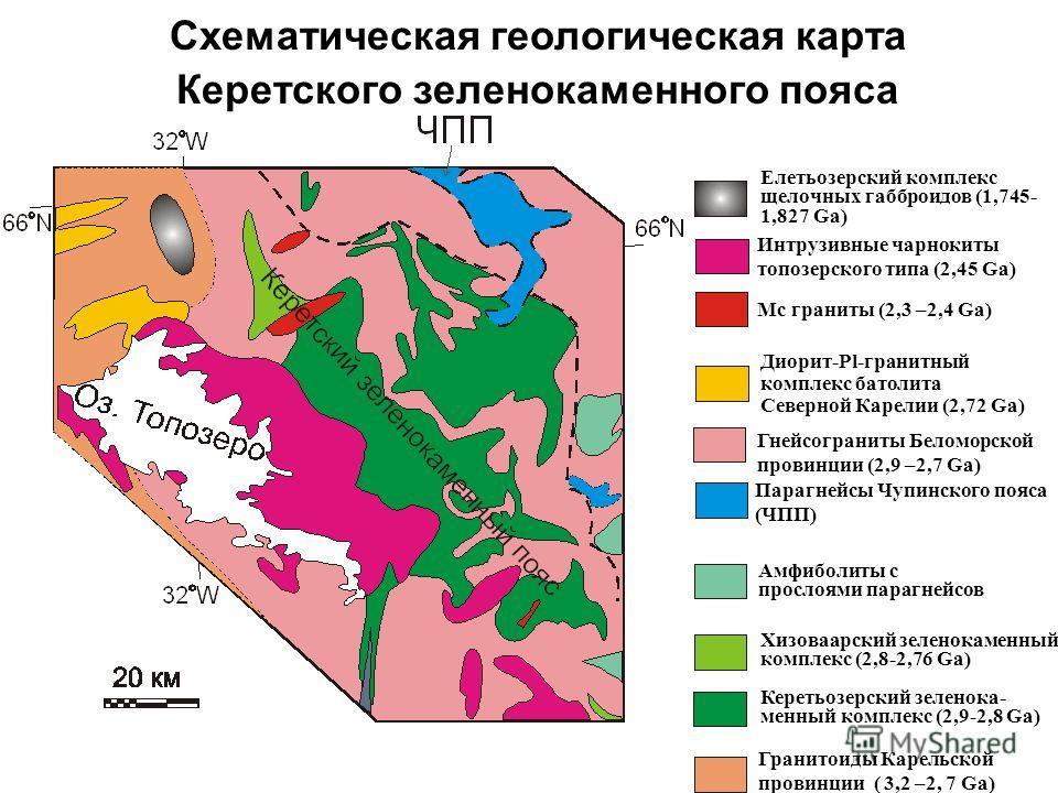 Схематическая геологическая карта Керетского зеленокаменного пояса Елетьозерский комплекс щелочных габброидов (1,745- 1,827 Ga) Интрузивные чарнокиты топозерского типа (2,45 Ga) Гранитоиды Карельской провинции ( 3,2 –2, 7 Ga) Керетьозерский зелено ка