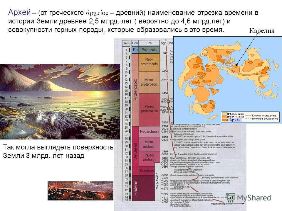 Архей – (от греческого άρχαίος – древний) наименование отрезка времени в истории Земли древнее 2,5 млрд. лет ( вероятно до 4,6 млрд.лет) и совокупности горных породы, которые образовались в это время. Карелия Архей Так могла выглядеть поверхность Зем