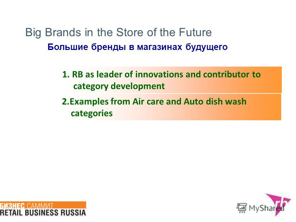 Big Brands in the Store of the Future 1. RB as leader of innovations and contributor to category development 2. Examples from Air care and Auto dish wash categories Большие бренды в магазинах будущего