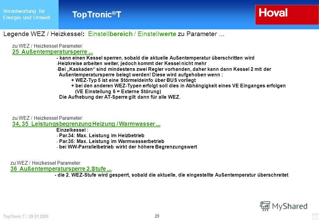 Verantwortung für Energie und Umwelt TopTronic ® T 29 TopTronic T / 29.01.2009 Legende WEZ / Heizkessel: Einstellbereich / Einstellwerte zu Parameter... zu WEZ / Heizkessel Parameter: 25 Außentemperatursperre... - kann einen Kessel sperren, sobald di